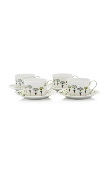Récamier Set-Of-Four Porcelain Teacup and Saucer Set