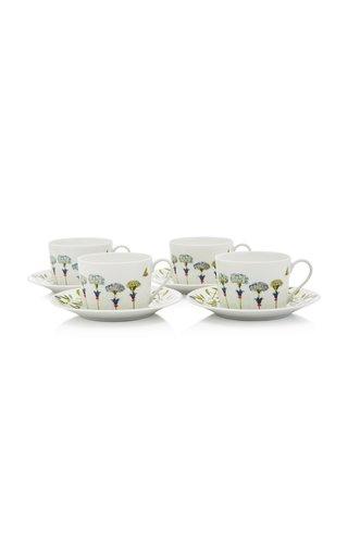 Récamier Set-Of-Four Porcelain Teacup and Saucer Set