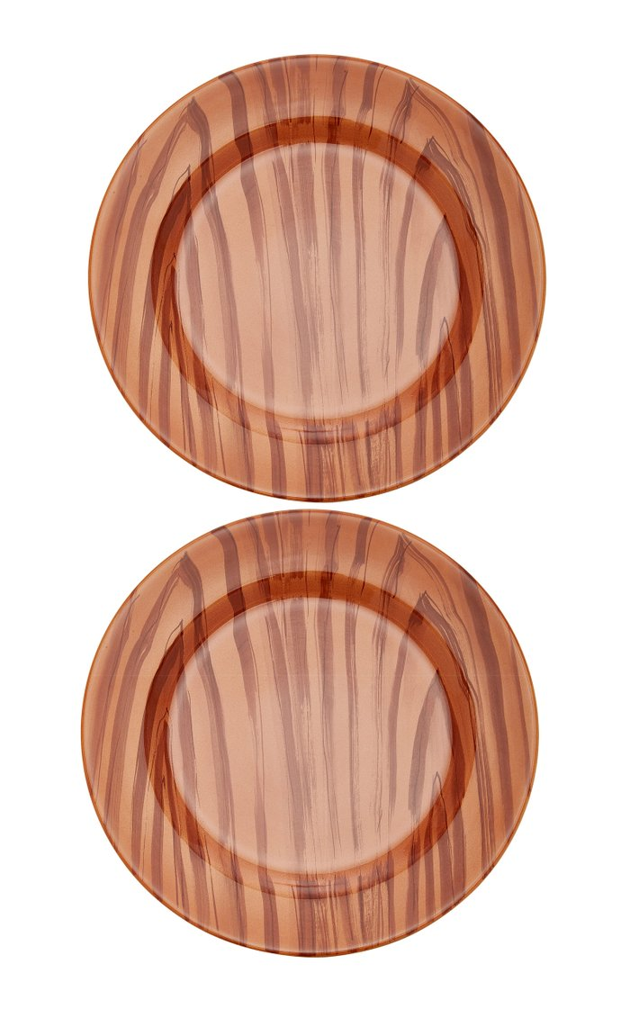 Set-Of-Two Wood-Print Ceramic Charger Plates