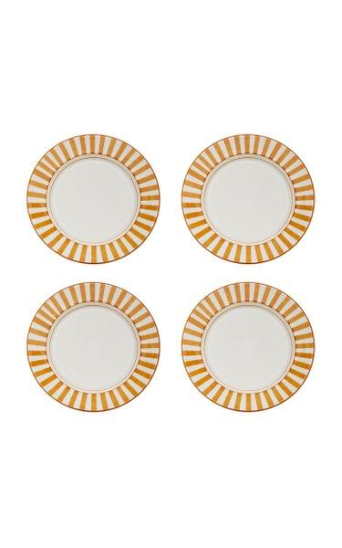 Set-of-Four Striped Ceramic Dinner Plates