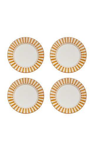 Set-of-Four Striped Ceramic Dinner Plates