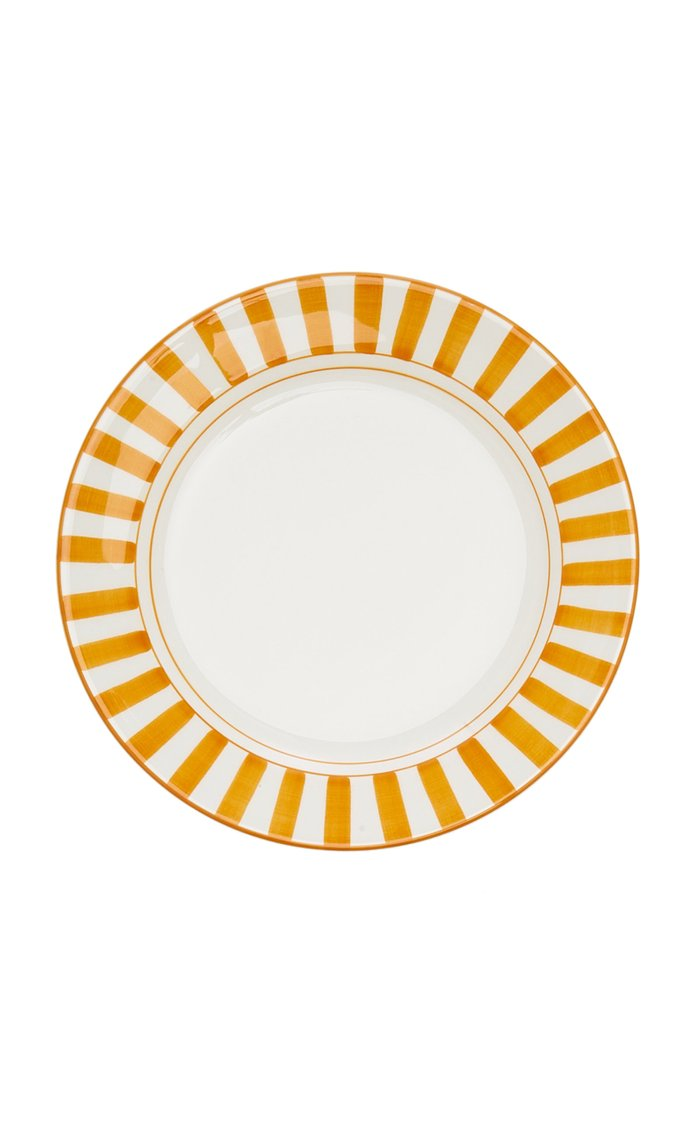 Set-Of-Four Striped Ceramic Dessert Plates