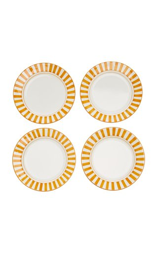 Set-Of-Four Striped Ceramic Dessert Plates