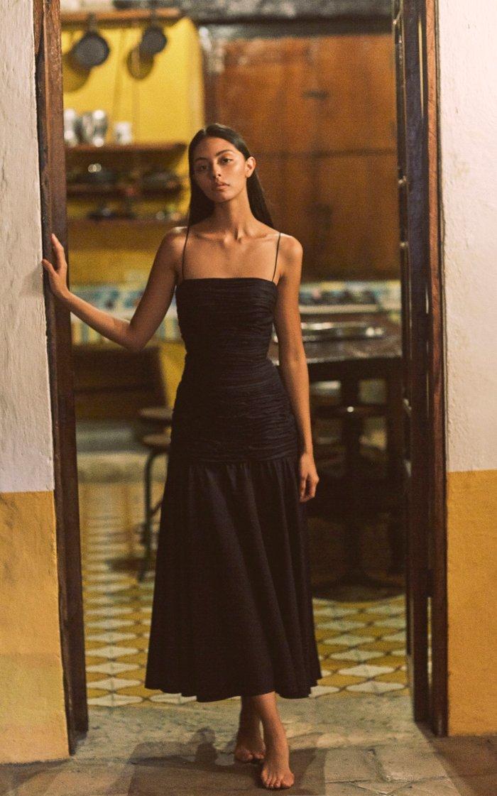 Trinidad Ruched Cotton Midi Dress