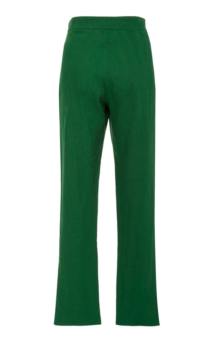 Palenque Cropped Straight-Leg Linen Pants