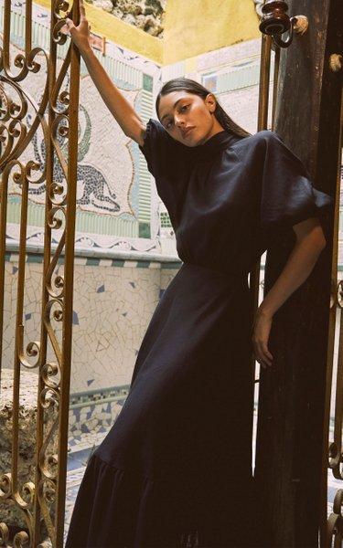 San Bernardo Pleated Linen Midi Dress
