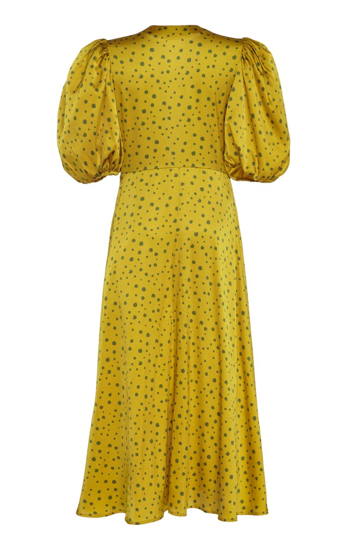 Lirio Polka-Dot Silk-Satin Midi Dress