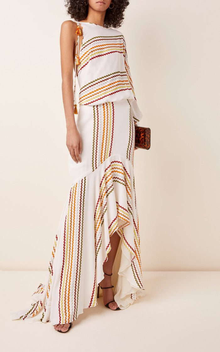 Celina Tasseled Printed One-Shoulder Maxi Dress