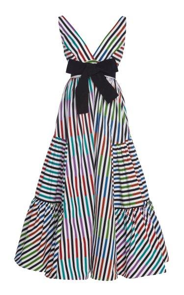 Catalina Del Mar Striped Cotton Midi Dress