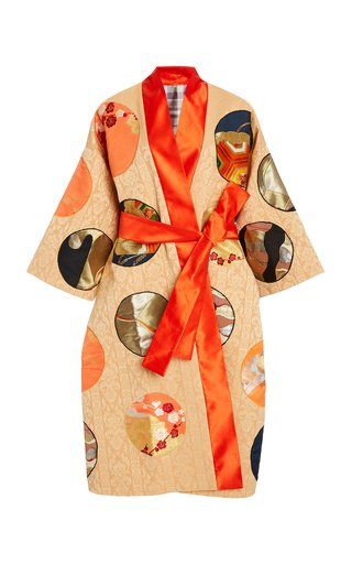 One of A Kind M'O Exclusive Printed Reversible Obi Silk Coat