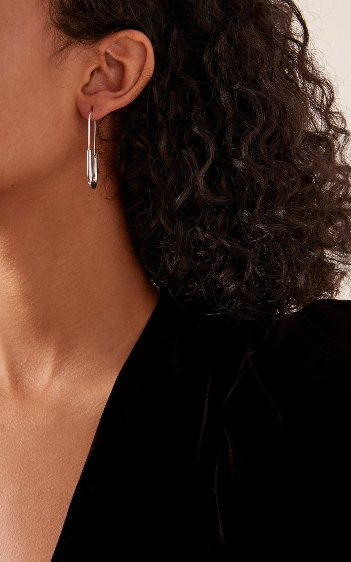 Chance White-Rhodium Safety Pin Earring