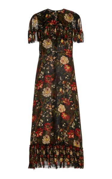 The Bombette Floral-Print Silk Dress