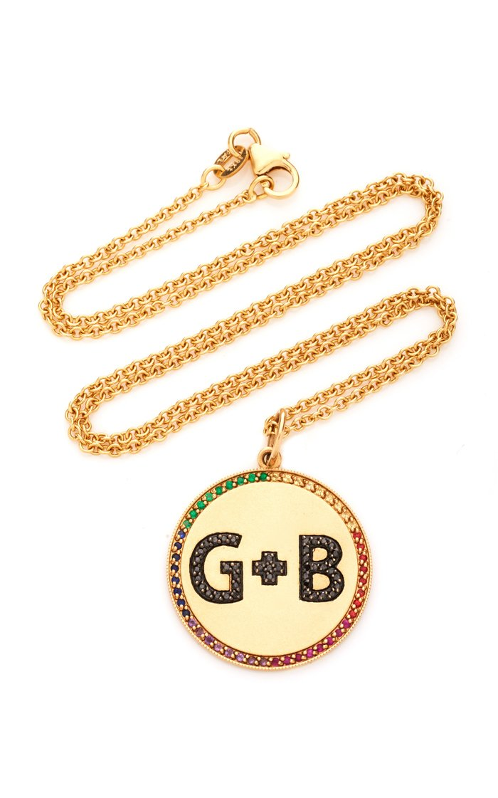 14K Yellow Gold Custom Two Letter Initials Pendant