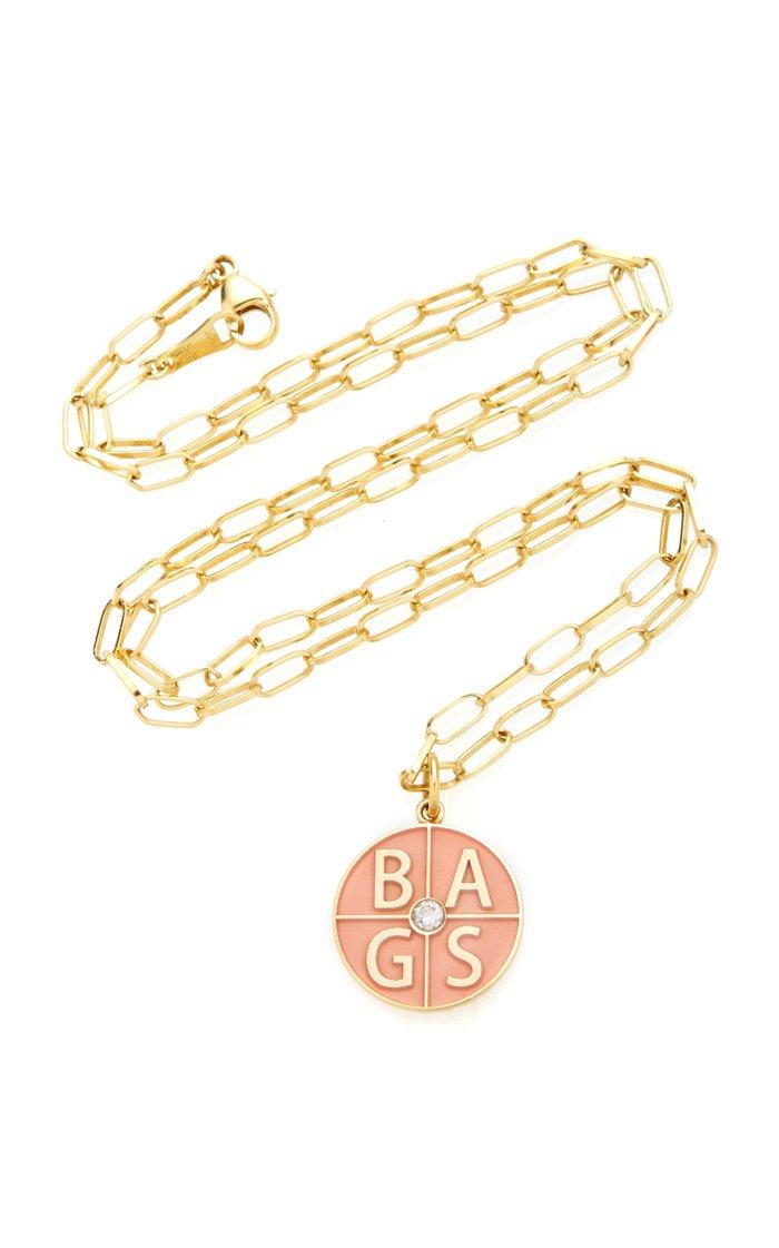 18K Yellow Gold Custom Four Letter Initials Pendant