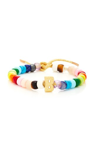 18K Gold Initial and Rainbow FORTE Beads Bracelet