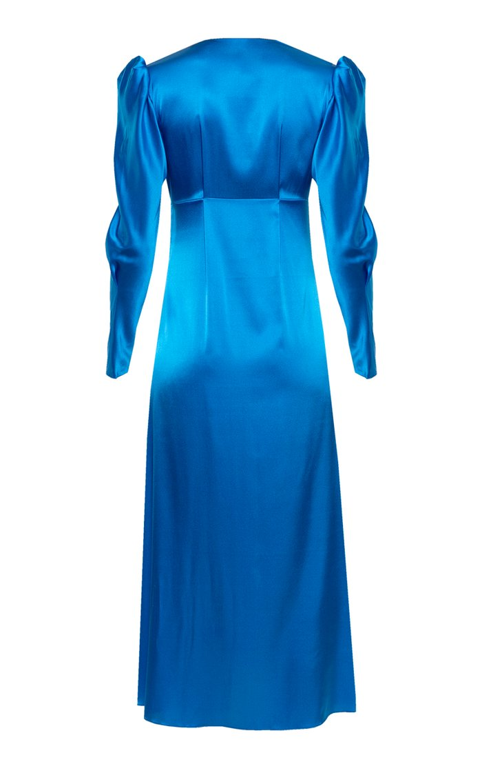 Friday Afternoon Button-Detailed Silk-Satin Midi Dress