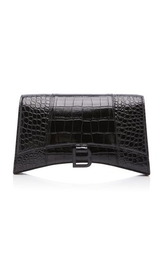 Hourglass Baguette Croc-Effect Leather Bag