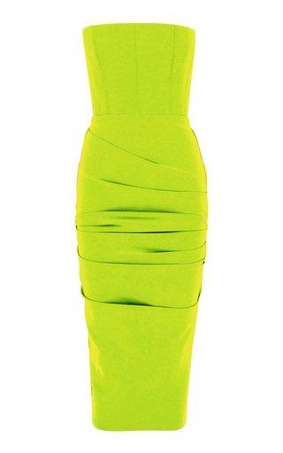 Exclusive Mena Ruched Stretch Crepe Midi Dress