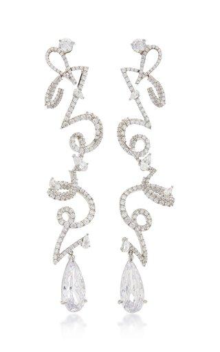 Script 18K White Gold Vermeil And Diamond Earrings