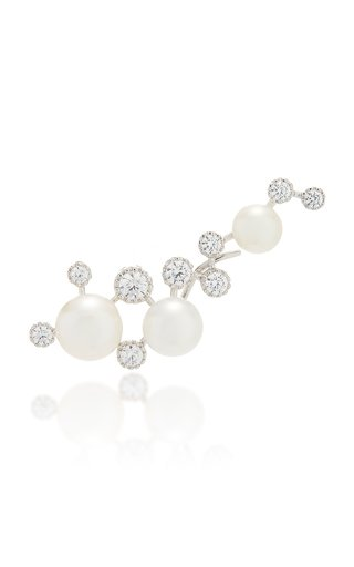 Constellation 18K Gold Vermeil, Pearl And Diamond Earring