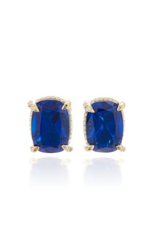 18K Gold Vermeil, Sapphire And Diamond Earrings