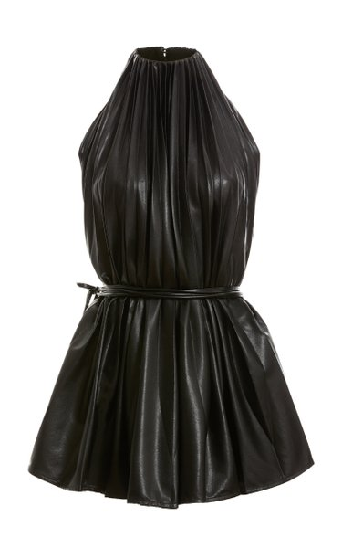 Pleated Vegan Leather Halter Top
