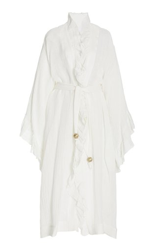 Anita Ruffled Linen-Blend Maxi Robe