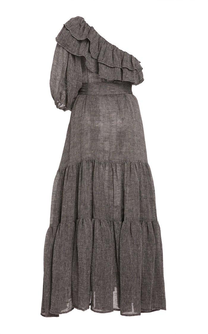 Arden Ruffled One-Shoulder Linen-Blend Maxi Dress