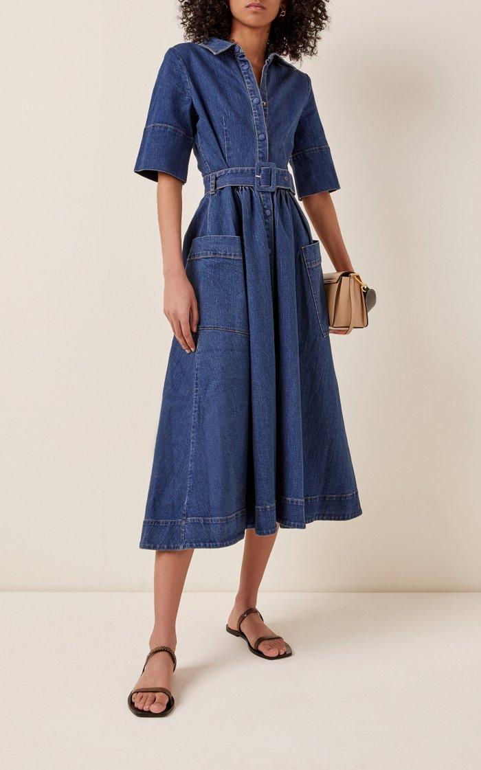 Belted Denim Midi Dress