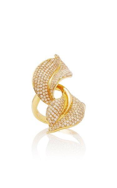 Spring 18K Yellow-Gold and White Diamond Ring