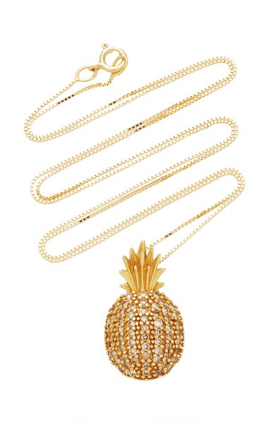 Pineapple 18k Yellow-Gold and White Diamond Necklace