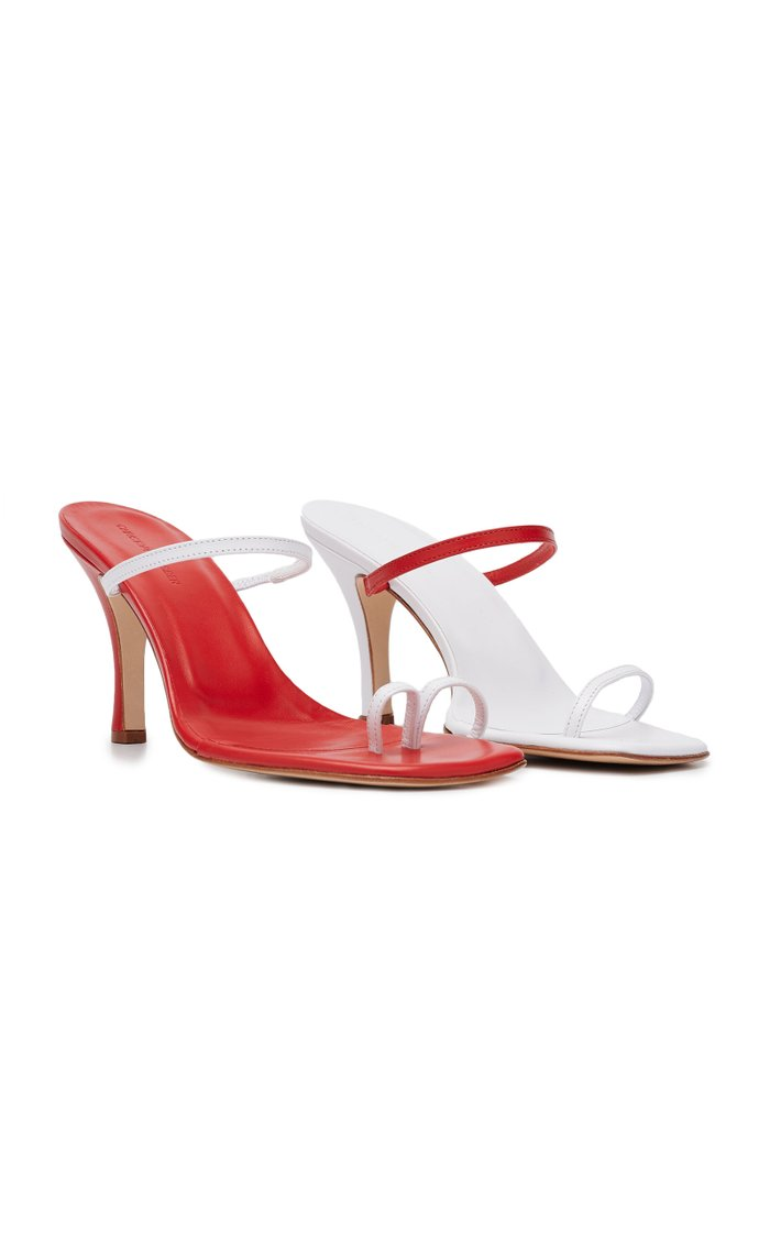 Fuyao Mismatched Leather Sandals