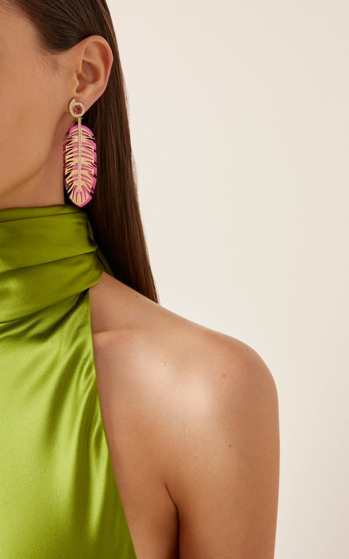 18K Gold, Tourmaline and Diamond Earrings