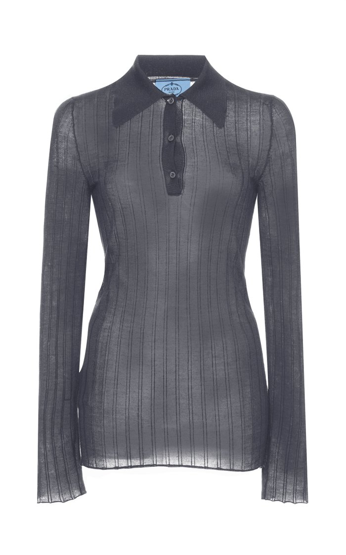 Ribbed Knit Cashmere Silk Top