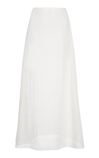 Crinkled Mid-Rise Silk Midi Skirt