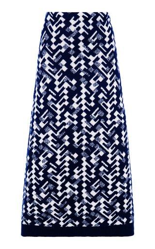 Intarsia Wool-Blend Midi Skirt