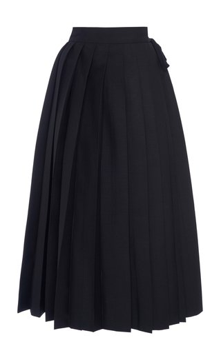 High-Rise Pleated Mohair Wool Midi Skirt