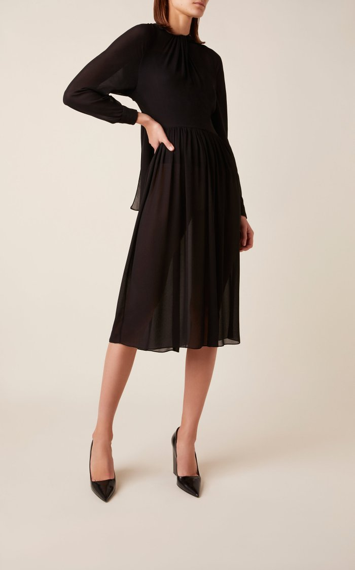 Ruched Knee-Length Cotton Dress