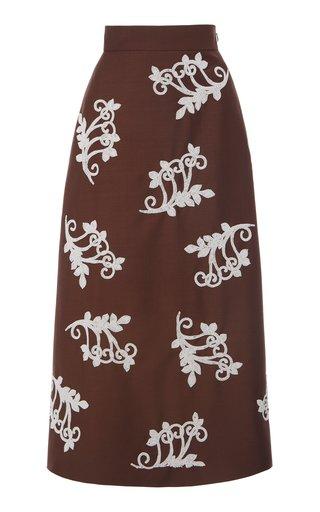 Embellished Mohair-Blend Midi Skirt