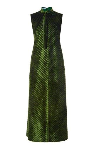 Tie-Detailed Velvet Midi Dress