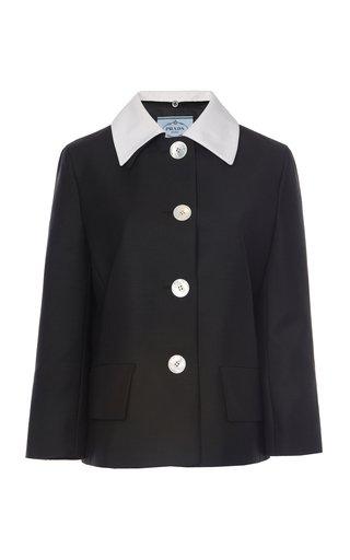 Contrast Collar Mohair Wool Jacket