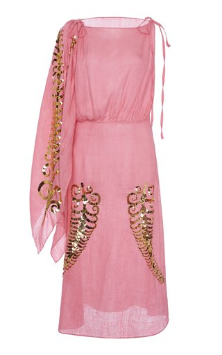 Sequin-Embellished Silk-Georgette Midi Dress