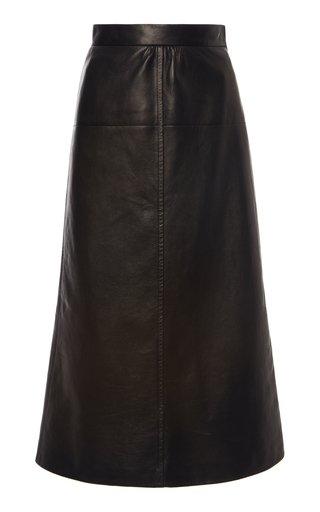 Seamed Leather Midi Skirt