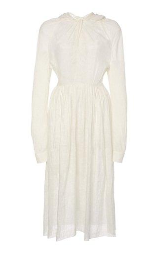 Draped Voile Midi Dress