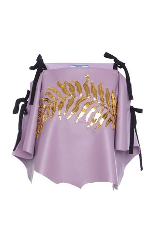 Ribbon-Detailed Sequined Leather Top