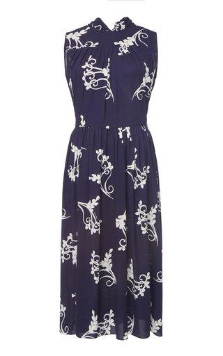 Printed Tie Back Midi Dress