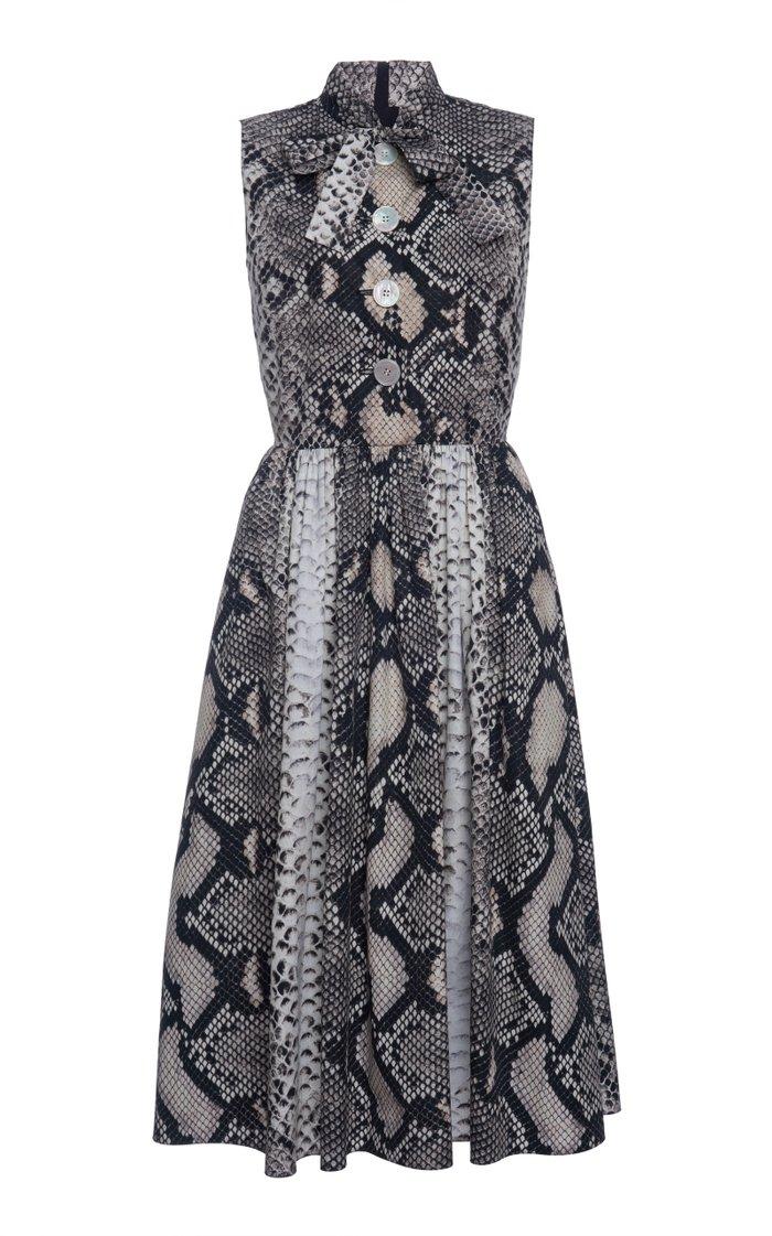 Animal Print Scarf Neck Dress