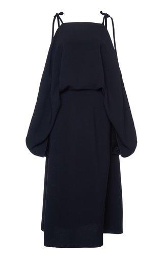 Cold Shoulder Tie Detail Midi Dress
