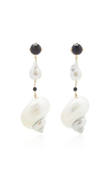 Sterling Silver Shell and Pearl Earrings