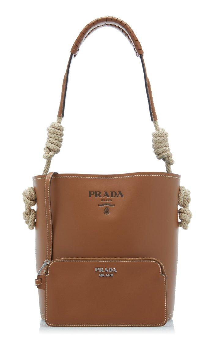 Leather Tambour Bucket Bag